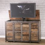 Buy Custom Vintage Modern Tv Lift Cabinet Electronic Media Console With Lift Rustic Entertainment Center Made To Order From Combine 9 Custommade Com