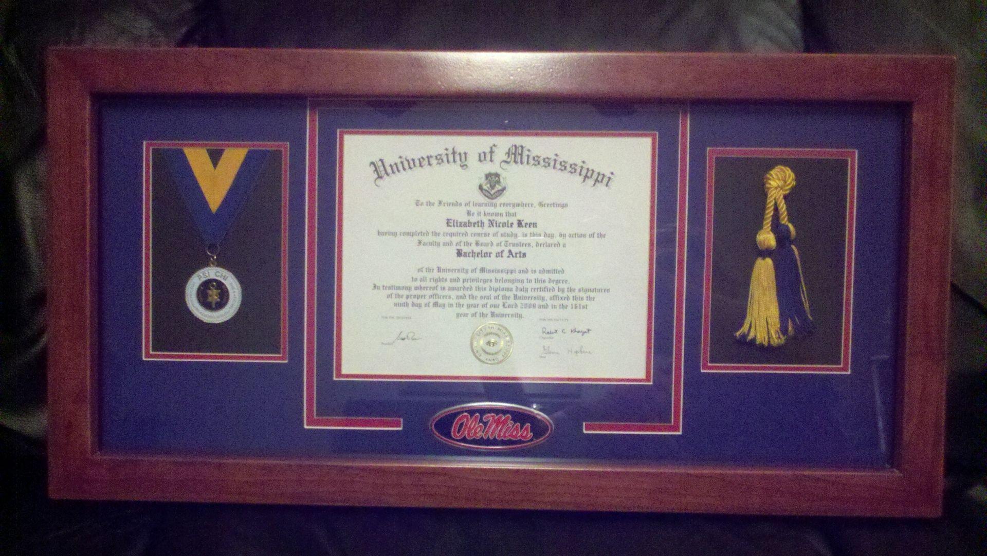 Hand Made Framed Diploma Display Case By Paladin