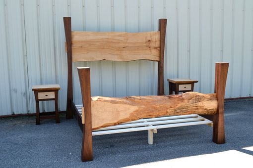 Hand Crafted Live Edge Maple King Size Bed With Walnut