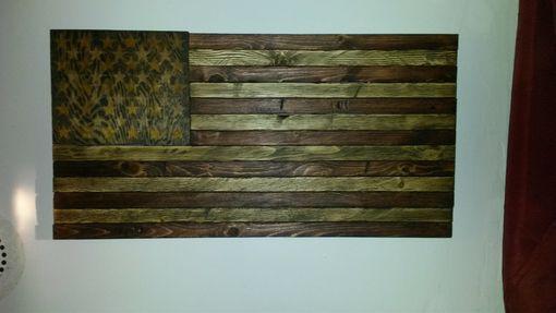 Buy A Handmade Rustic Distressed Wood American Flag Made
