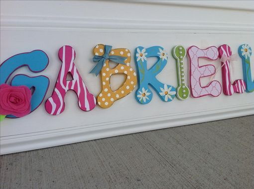 Hand Made Girls Bedroom Decor Wood Letter Name Sign Pink