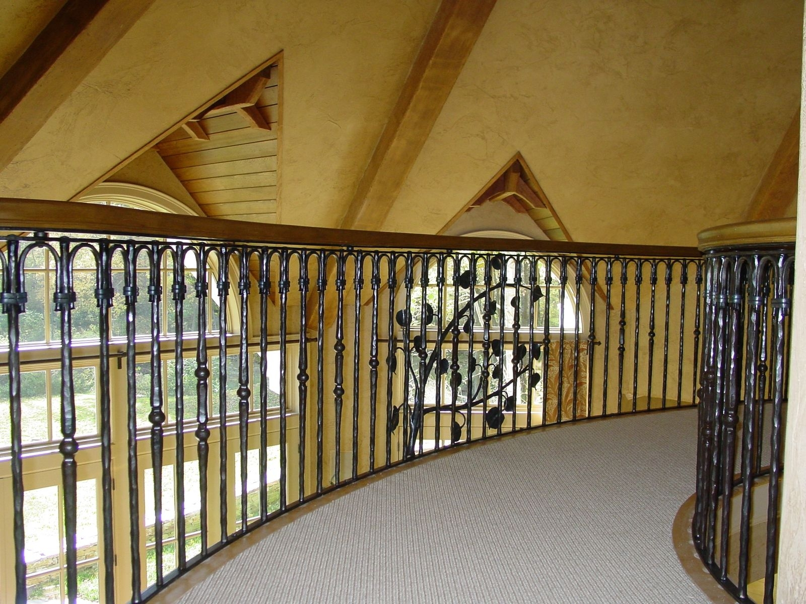 Custom Made Wrought Iron Stair And Bridge Railing By Rising Sun | Outdoor Iron Staircase Designs | Gallery | Outdoor Balcony | Exterior | Curved Staircase Carpet | Wooden Staircase