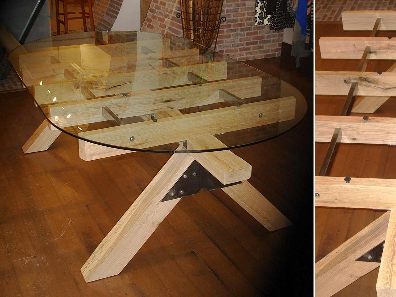 Custom Post And Beam Glass Topped Table By Where Wood