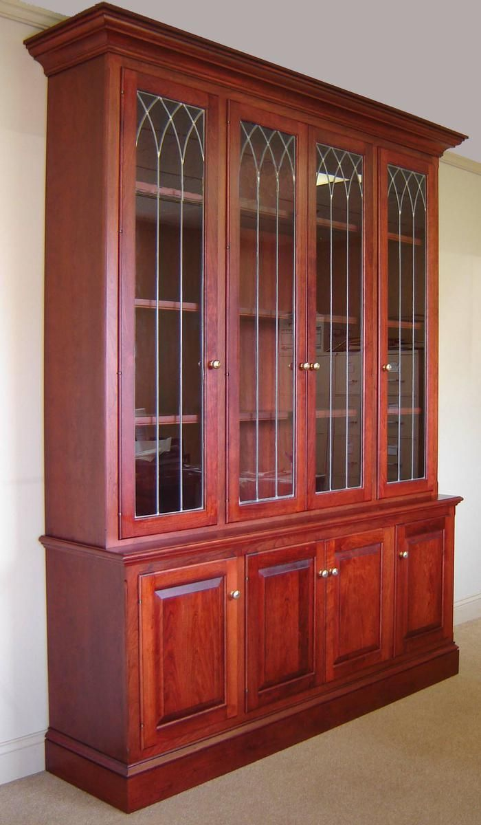 Custom Made Cherry Bookcase W Leaded Glass Doors By Odhner
