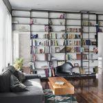 Handmade Minimal Blackened Steel Bookshelves With Rolling