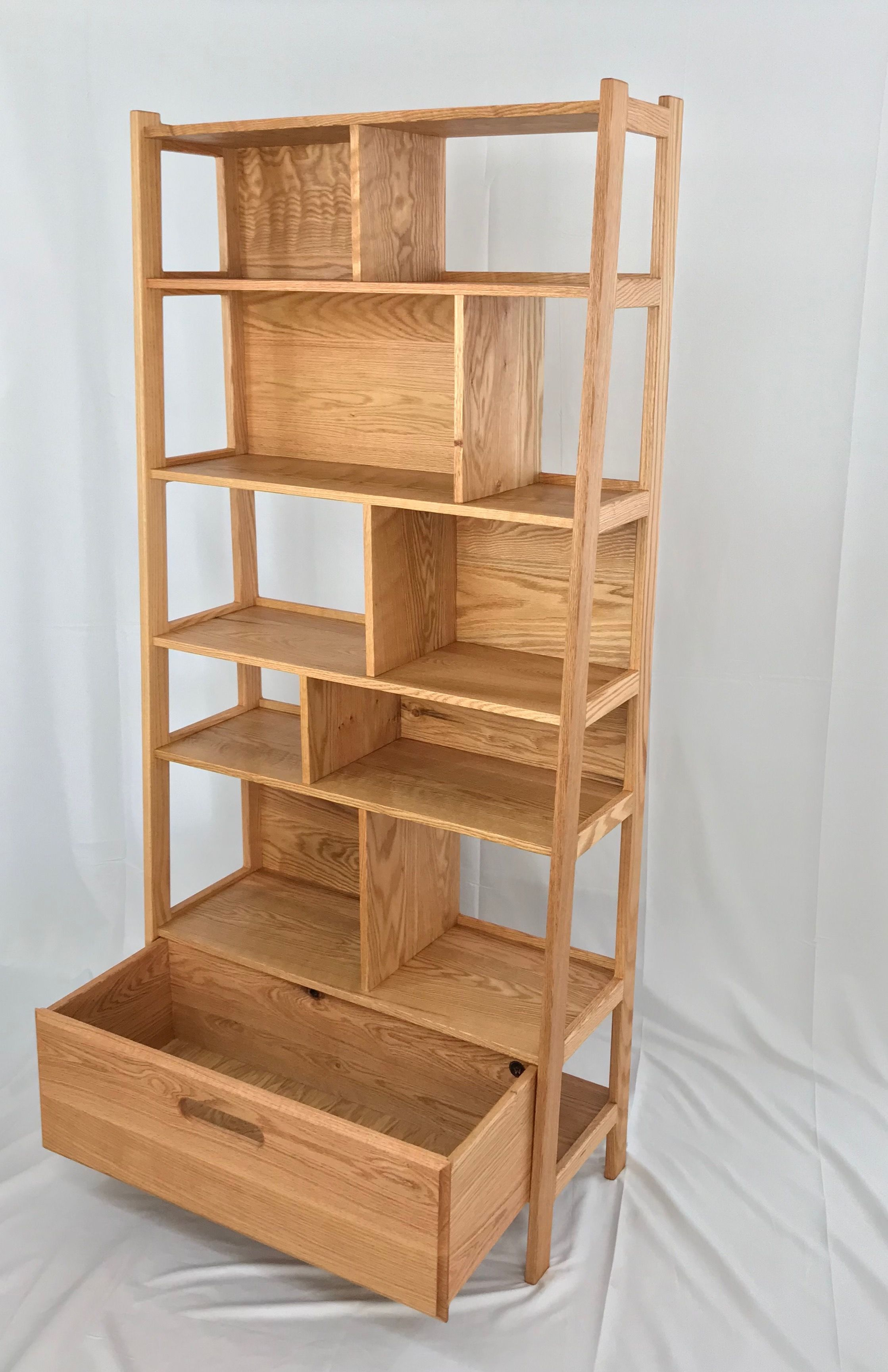 Custom Made Mid Century Modern Solid Wood Bookcase By Allan