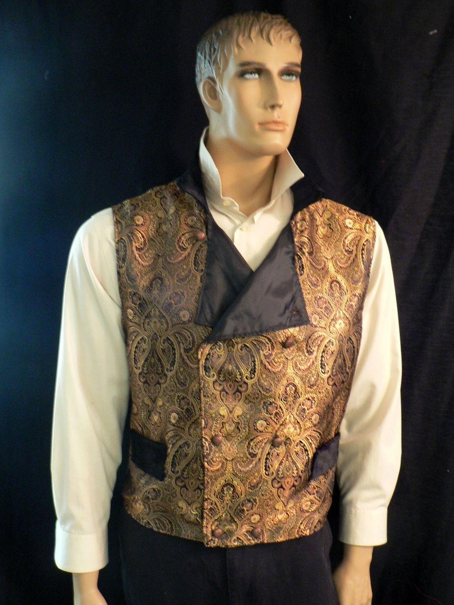 Hand Made SteampunkVictorian Mens Gold Brocade Vest By