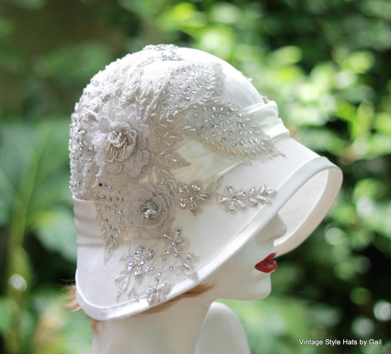 Custom Made Vintage 1920S Hat Elaborate Lace Rhinestone