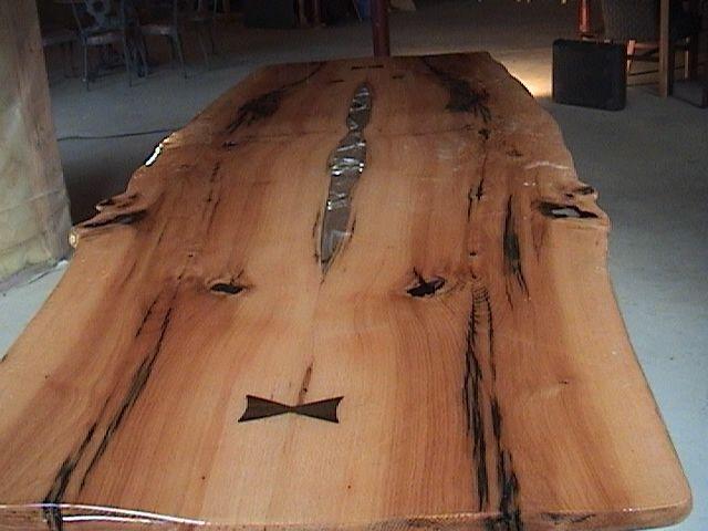 Custom White Oak Dining Table With Split Log Base