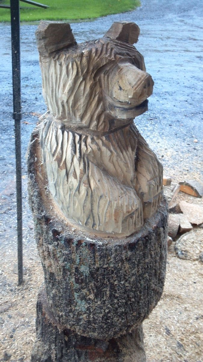 Hand Made Small Natural Chainsaw Carved Stump Bear By