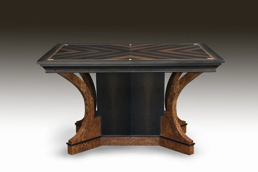 Hand Crafted Art Deco Bog Oak And Ivory Dining Table By Joel Shepard Furniture