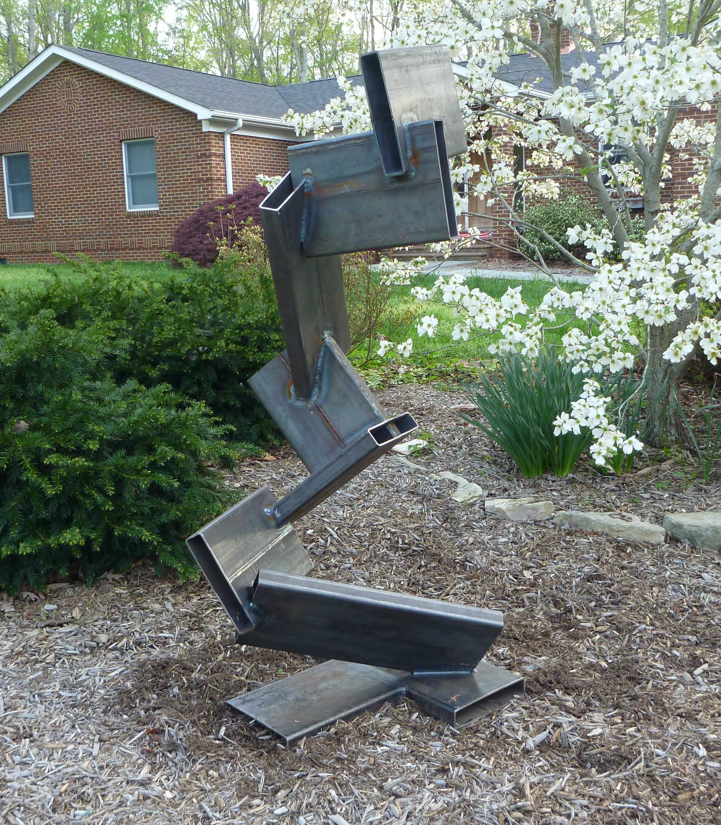 Buy a Hand Crafted Large Outdoor Abstract Rock And Metal ... on Backyard Metal Art id=63634