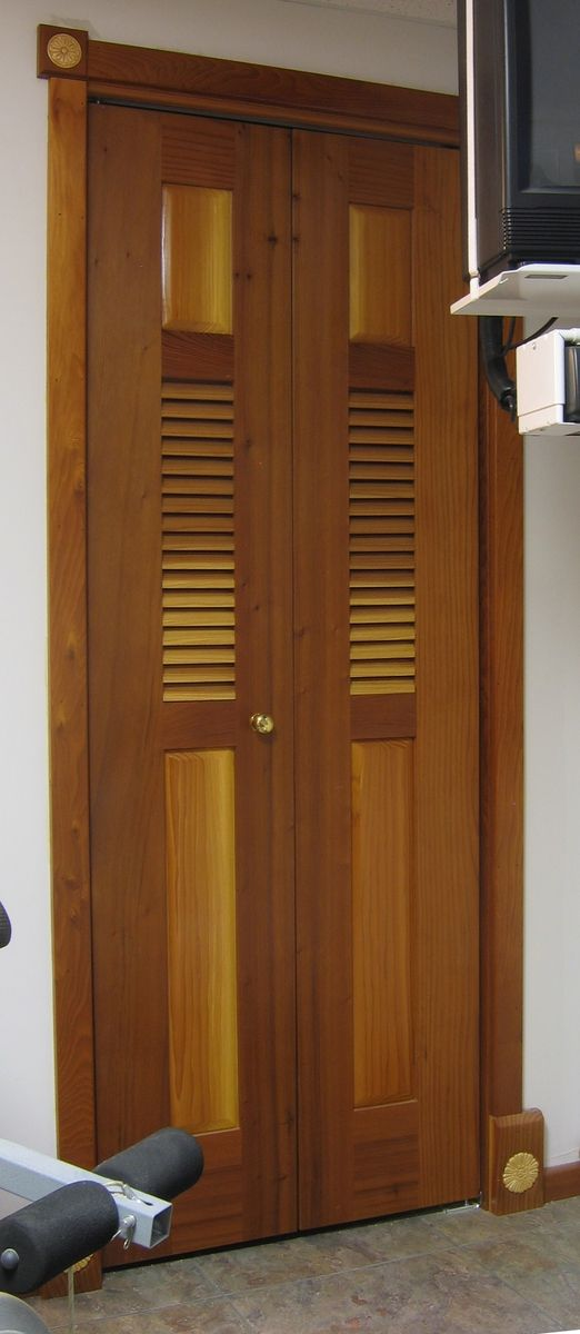 Hand Crafted Bi Fold Redwood Louvered Door By The Western