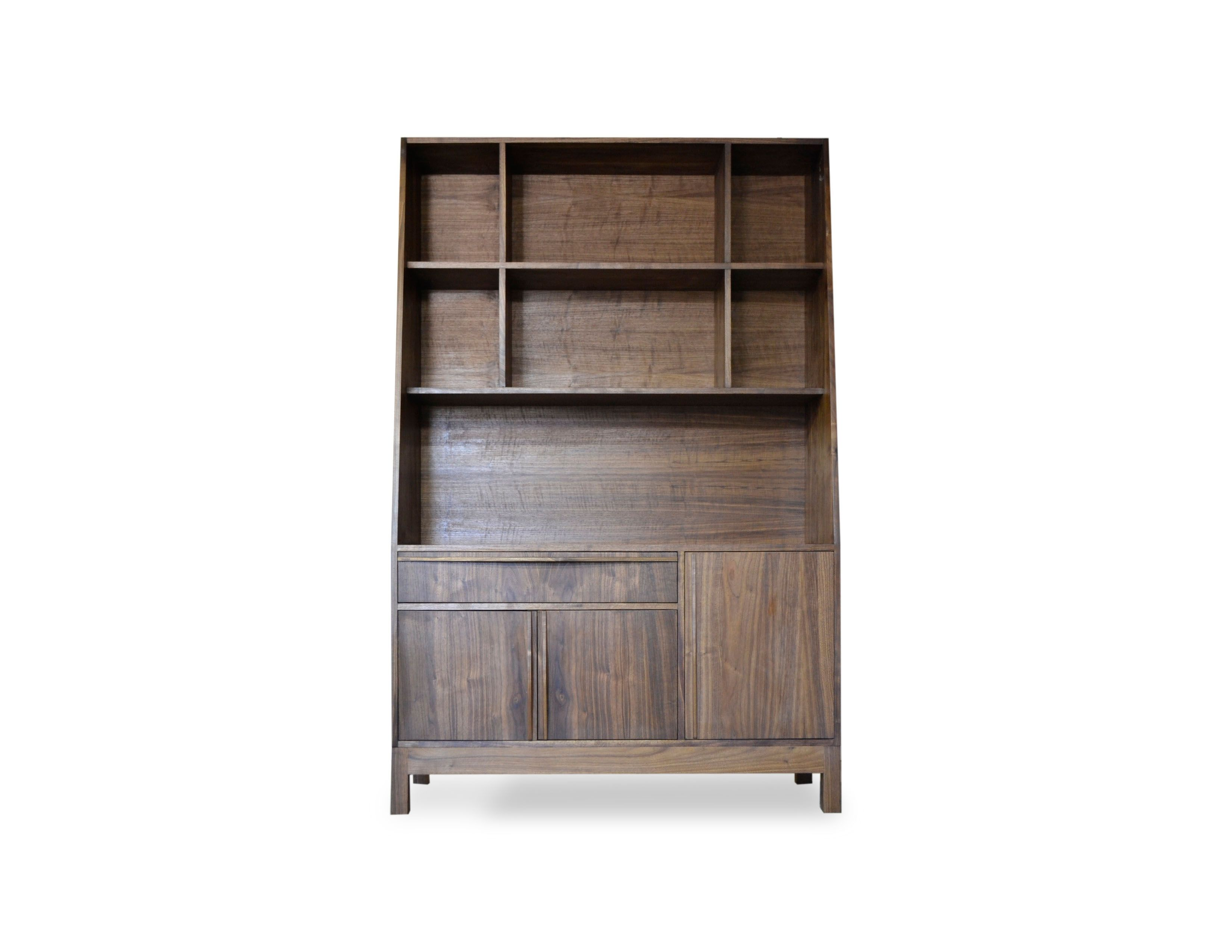 Custom Modern Walnut Bookcase By Blak Haus Furniture
