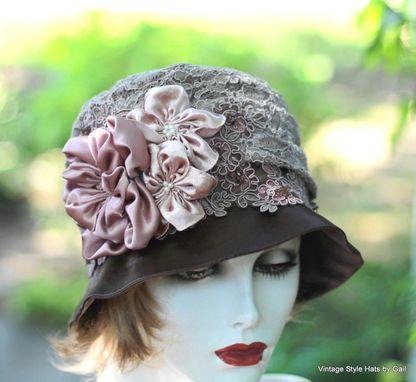 Custom Edwardian Vintage Style Wedding Hat In Taupe Mauve