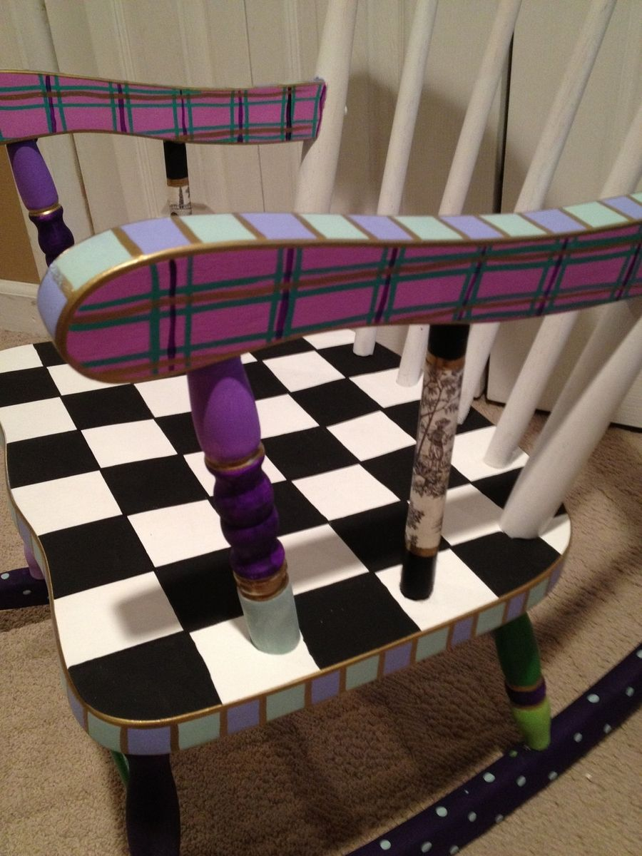 Handmade Custom Hand Painted Childs Rocking Chair By