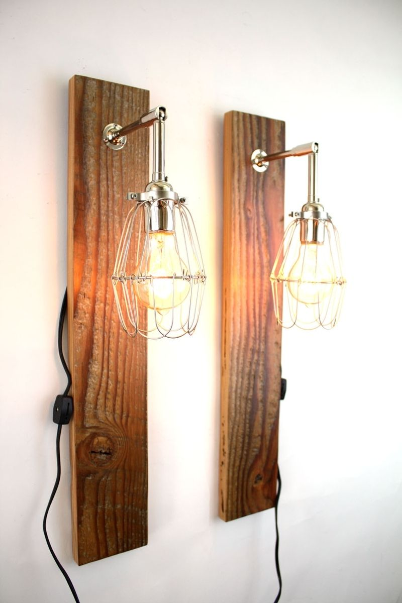Hand Made 'Mesic' Wall Sconce // Reclaimed Wood Lamp ... on Wood Wall Sconces id=35548