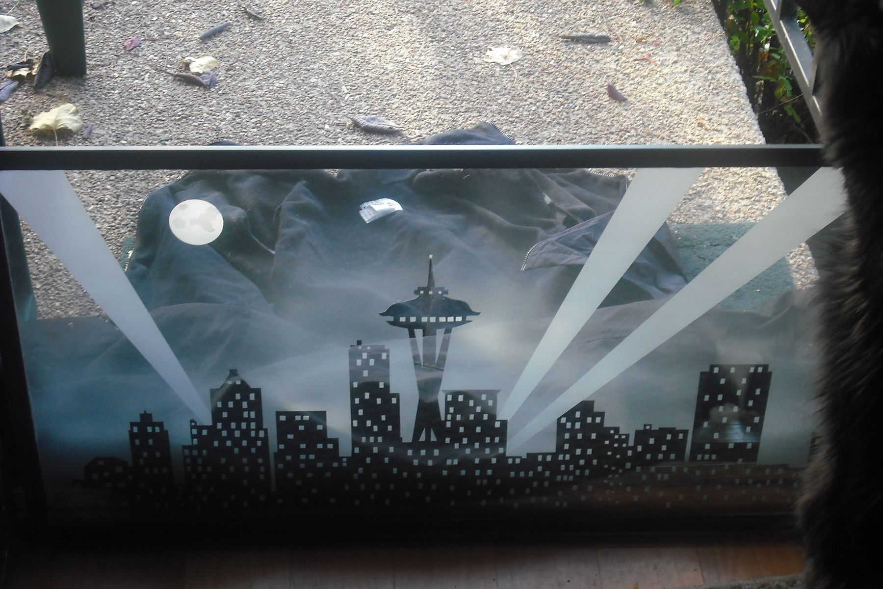 Hand Crafted Etched Glass Window Seattle Skyline By