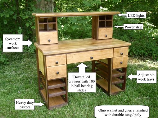 Hand Made Hobby Work Bench Desk Table By Custom Furniture