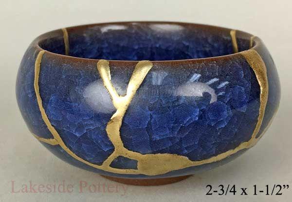 Handmade Kintsugi Kintsukuroi Pottery Repaired With Gold