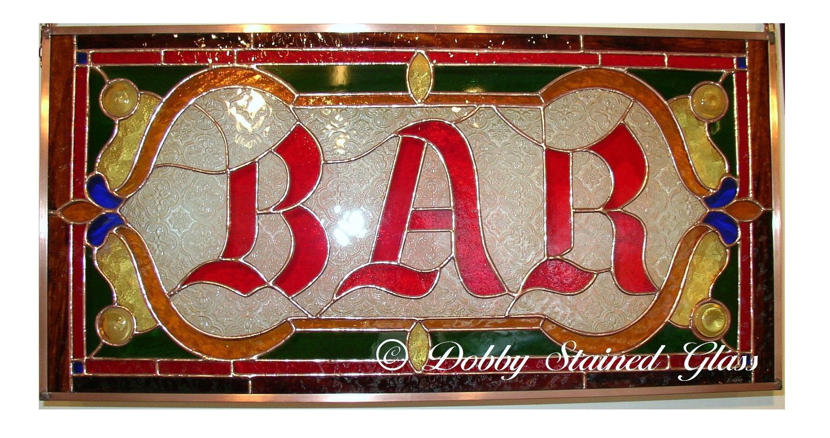Custom Made Stained Glass Panel Bar Sign By Dobby Glass