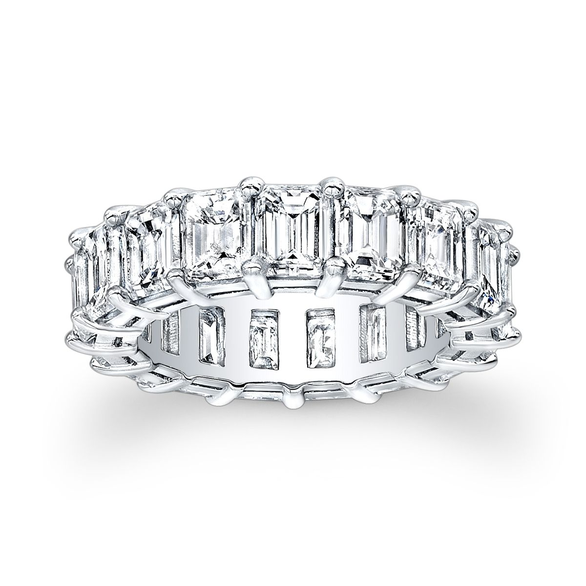 Hand Made Baguette Eternity Shared Prong Wedding Band By