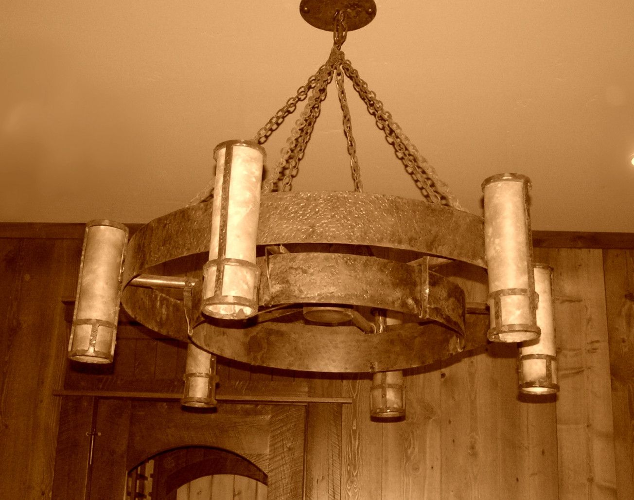 Hand Made Wagon Wheel Iron Chandelier By Creations Studio