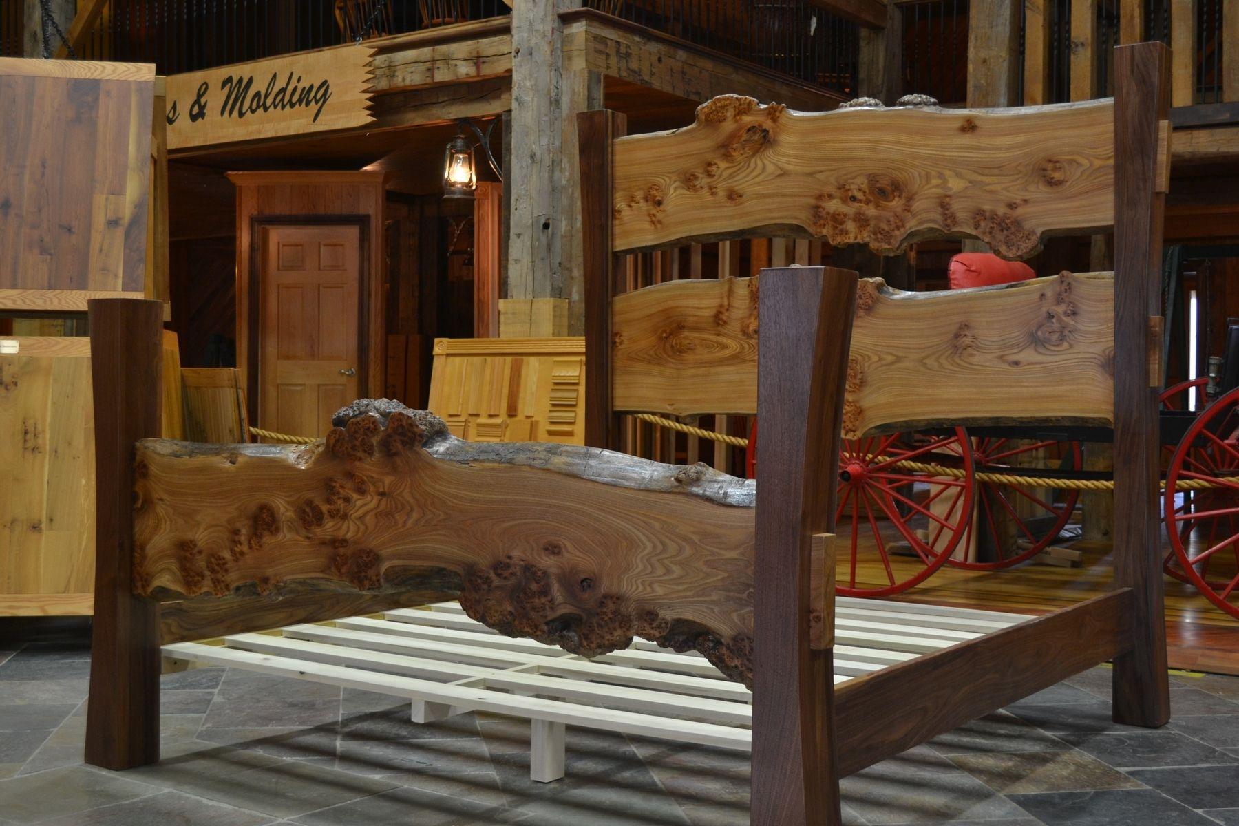 Custom Made Walnut And Elm Burl Live Edge Slab Bed By