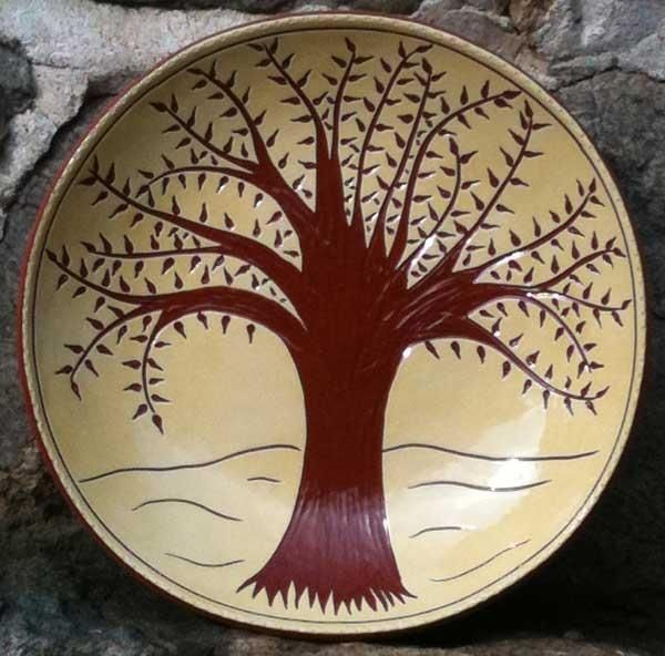 Hand Crafted Ceramic Plate With Tree Design By Wilz