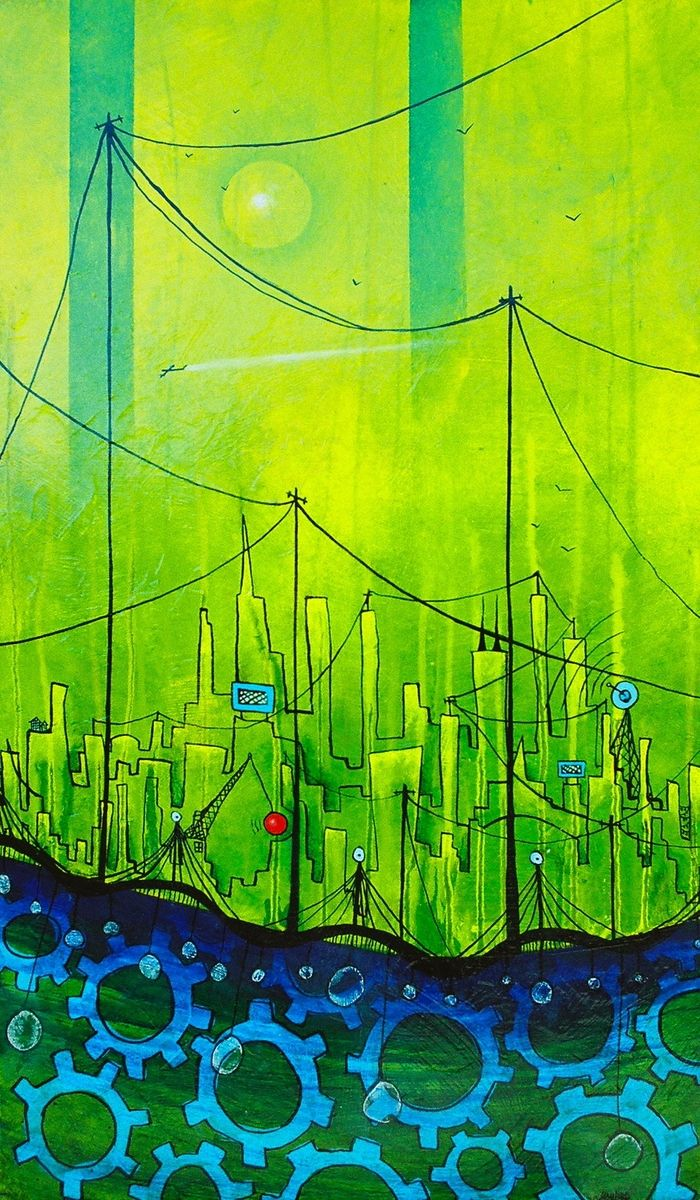 Custom Lime Green City Painting By Jami Rose Lord Art