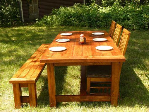Custom Made Farmhouse Style Dining Table And Bench By Minnesota Farmhouse