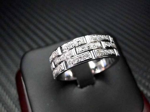 Hand Crafted 14k White Gold Mens Diamond Wedding Band