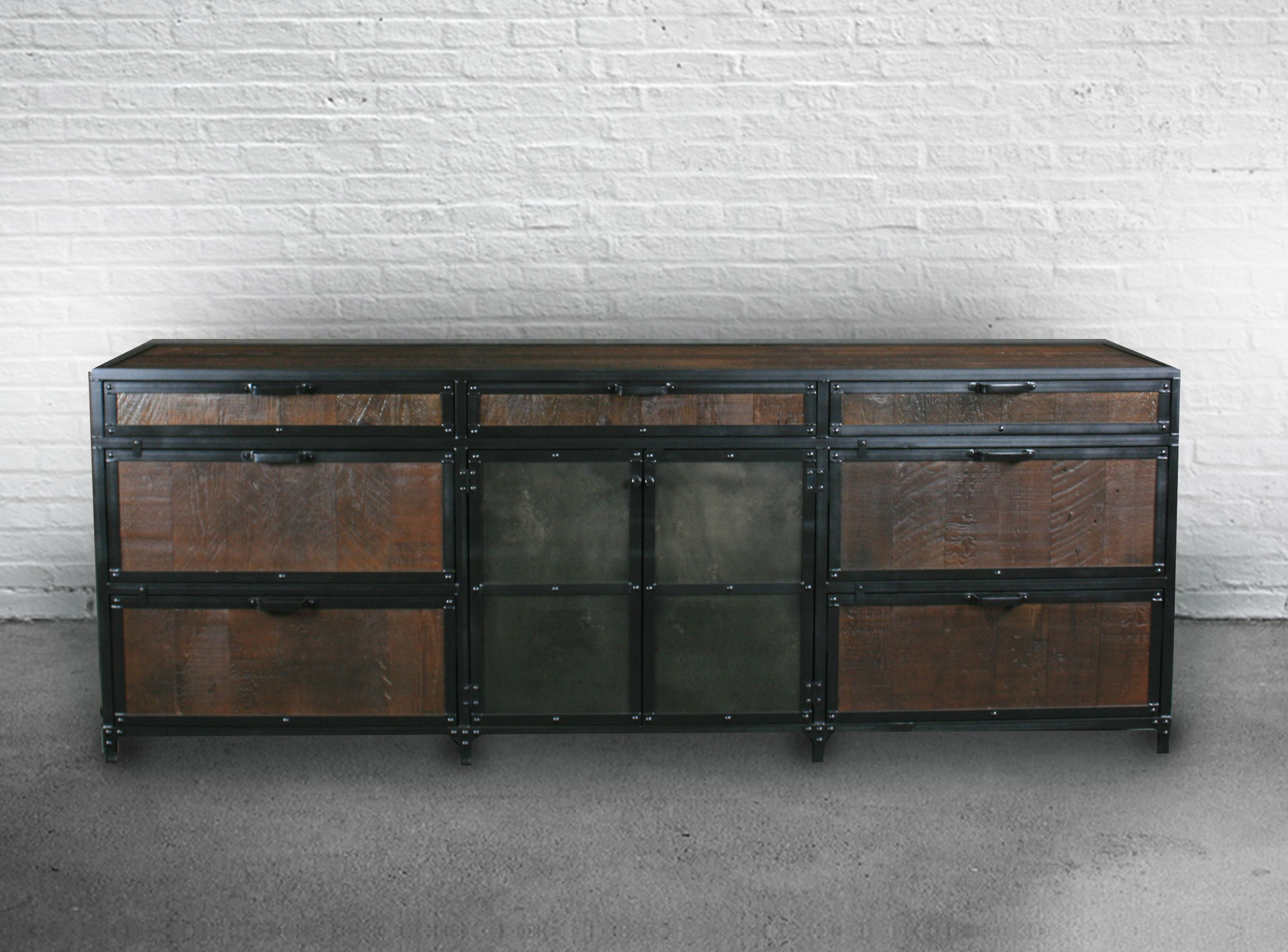 Buy Custom Industrial Reclaimed Wood File Cabinet Lateral Filing Storage Rustic Hutch Buffet Credenza Made To Order From Combine 9 Custommade Com