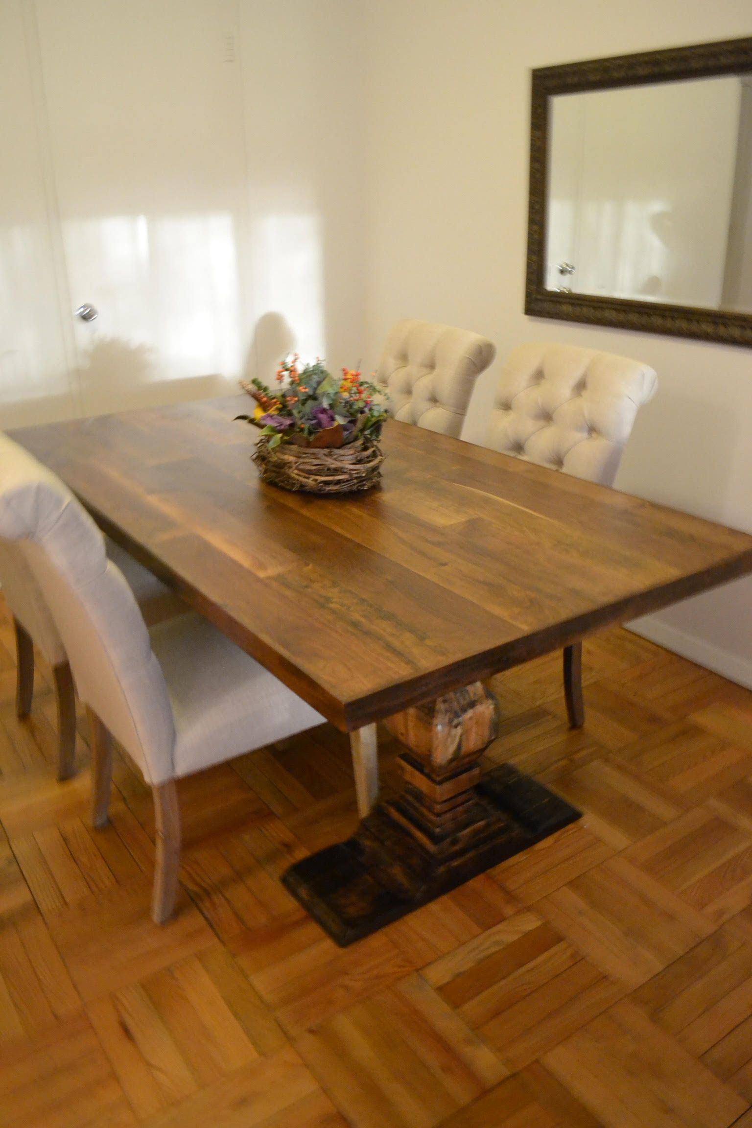 Hand Made 5 Foot Dining Room Table Mixed Species Wood With Custom Designed Legs By The Lazarus
