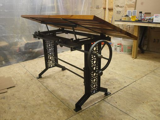 Hand Made Industrial Drafting Desk With Reclaimed Wood Top