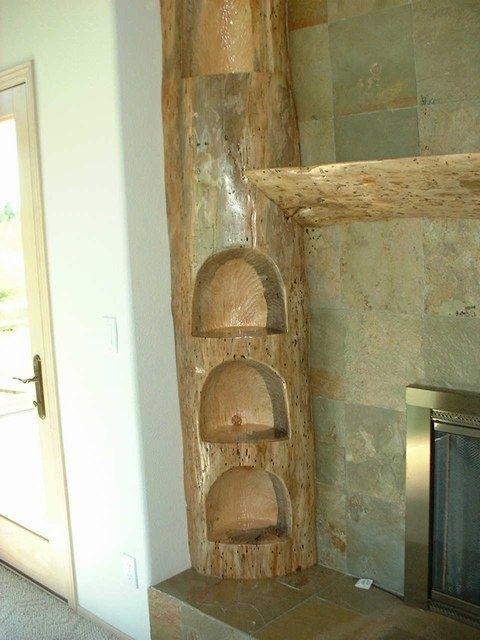 Custom Carved Pine Log Fireplace Mantel By Sheridan