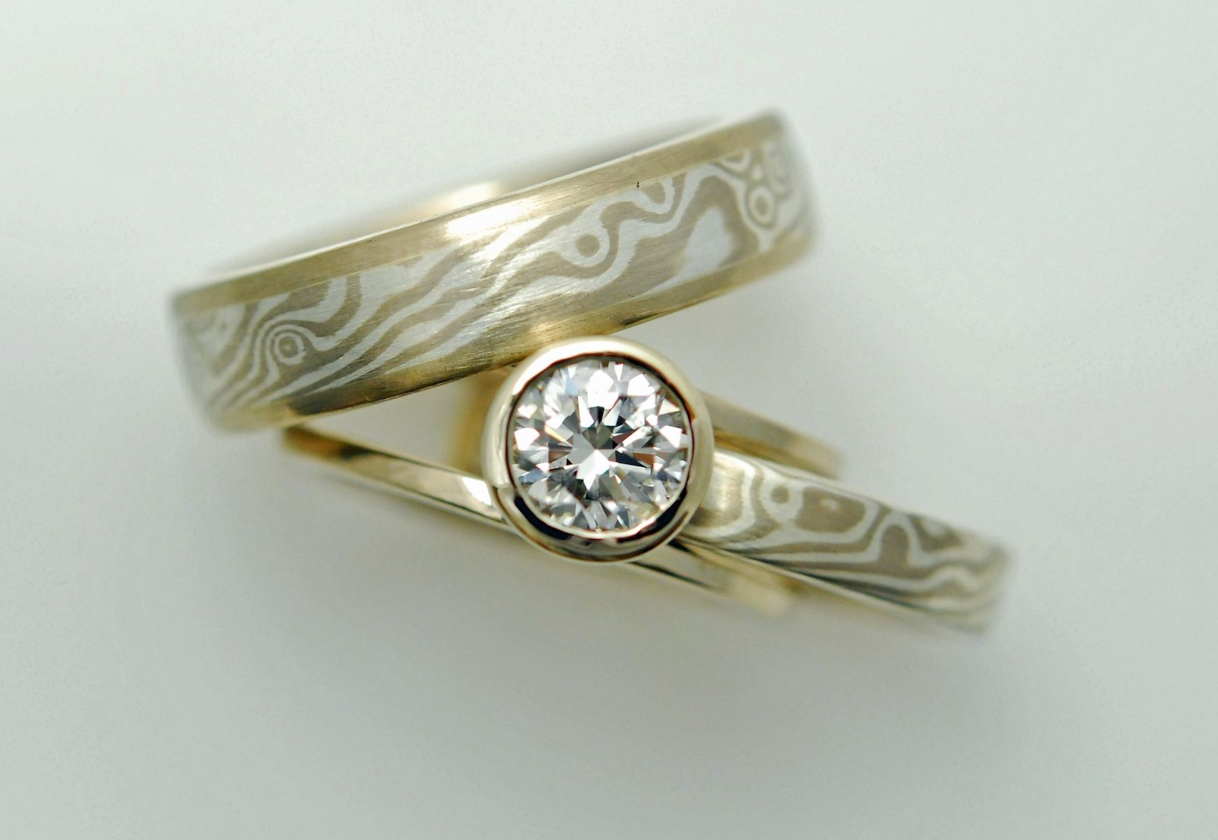 Hand Crafted Mokume Gane Set With Custom Engagement Ring