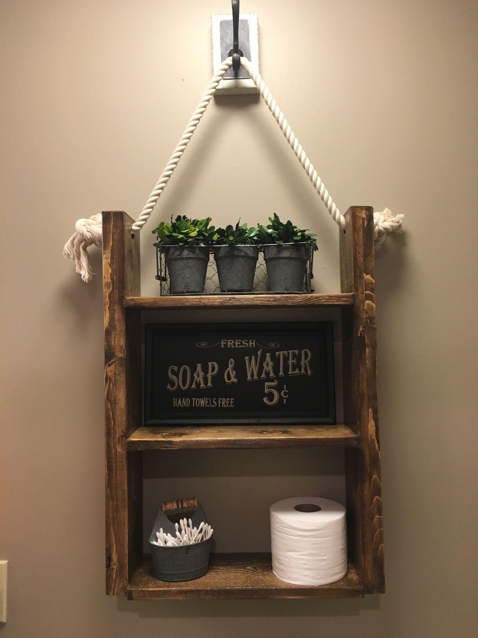 Farmhouse Rustic Bathroom Shelf Hanging Shelf Rope Shelf