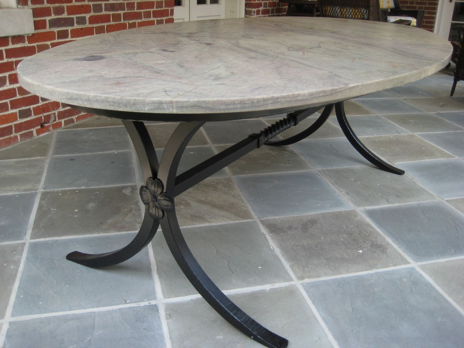 Hand Crafted Hand Forged Table Base With Granite Top By Phoenix Handcraft