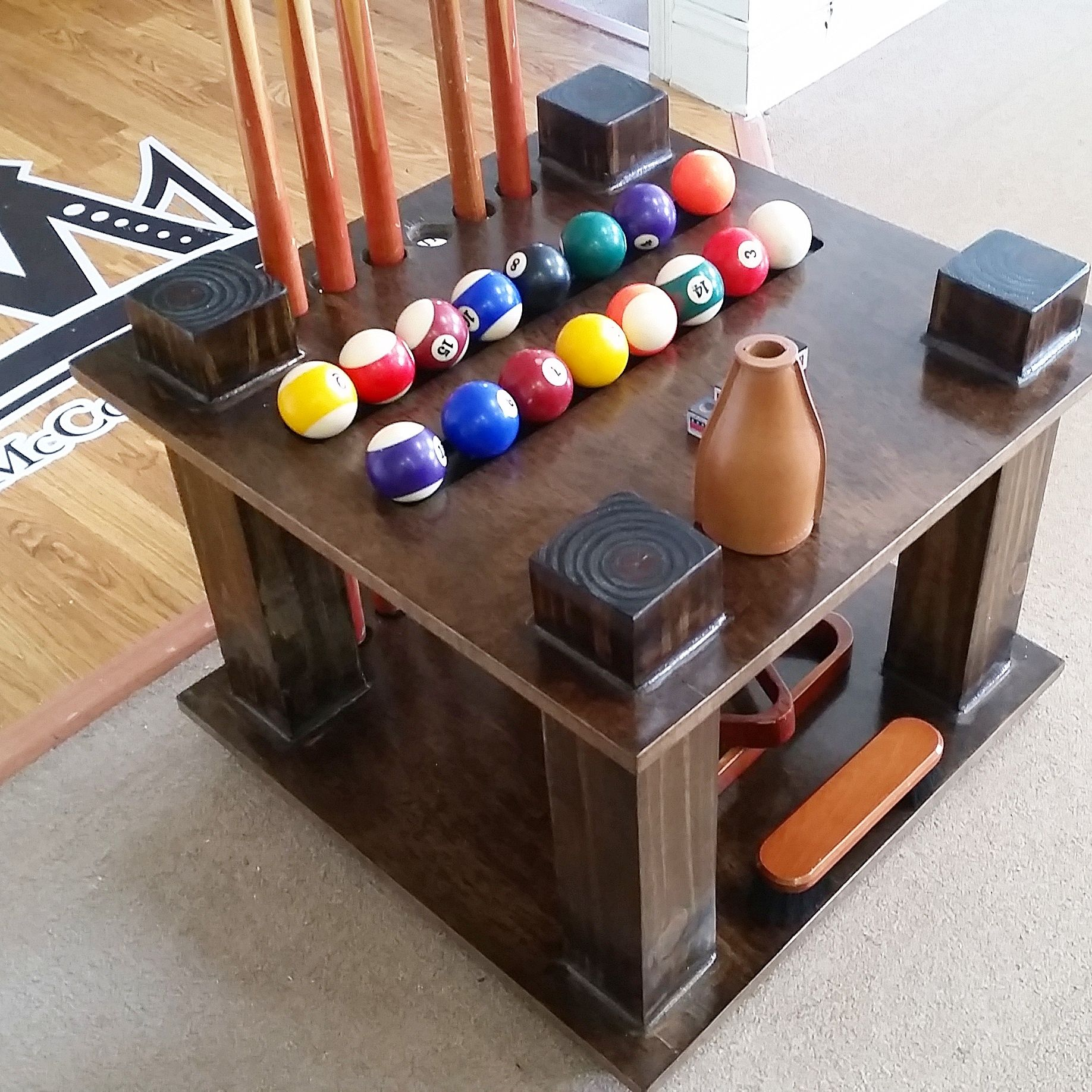 made cue rack pool stick holder