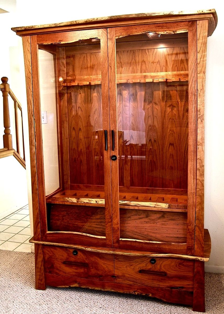 Hand Crafted Mesquite Amp Cherry Gun Cabinet By Louis Fry
