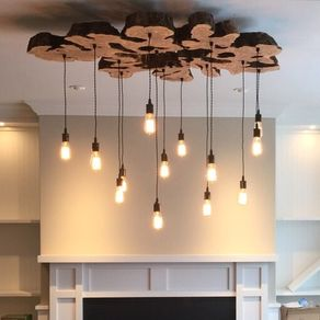 Extra Large Live Edge Olive Wood Chandelier Rustic And Light Fixture By Paul