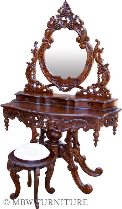 Custom Made Solid Mahogany French Mirror Vanity Dressing Table By Mbw Furniture