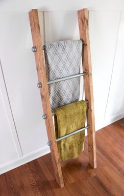 Buy A Custom Made Wooden Ladder W Industrial Pipe Blanket Ladder Quilt Rack Housewarming