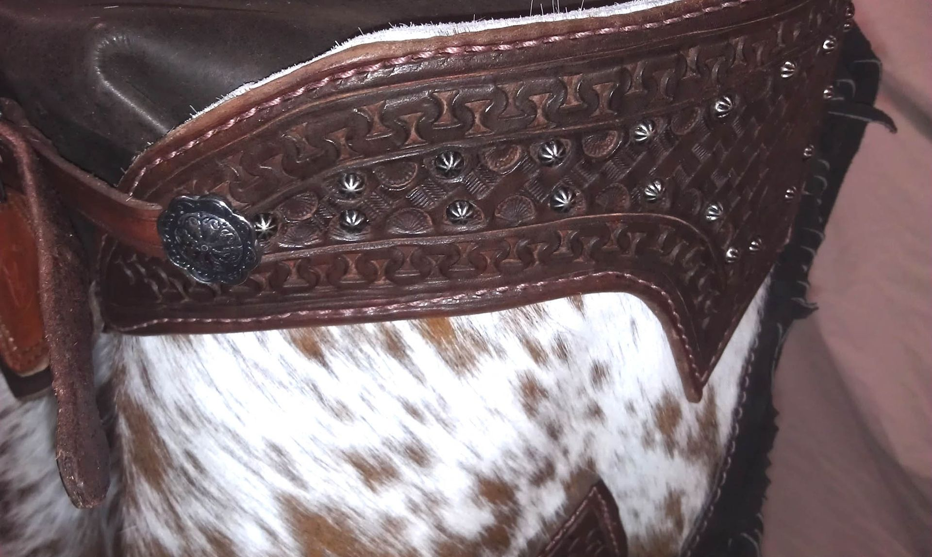 Hand Made Hair On Cowhide Chinks By Manta Leather