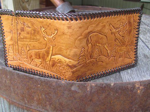 Hand Made Hunting Design Handcarved Leather Wallet Big