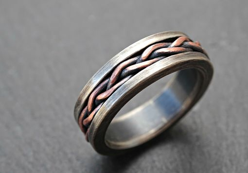 Buy A Hand Crafted Viking Wedding Band Braided Ring Two Tone Rustic Mens Ring Unique Mens