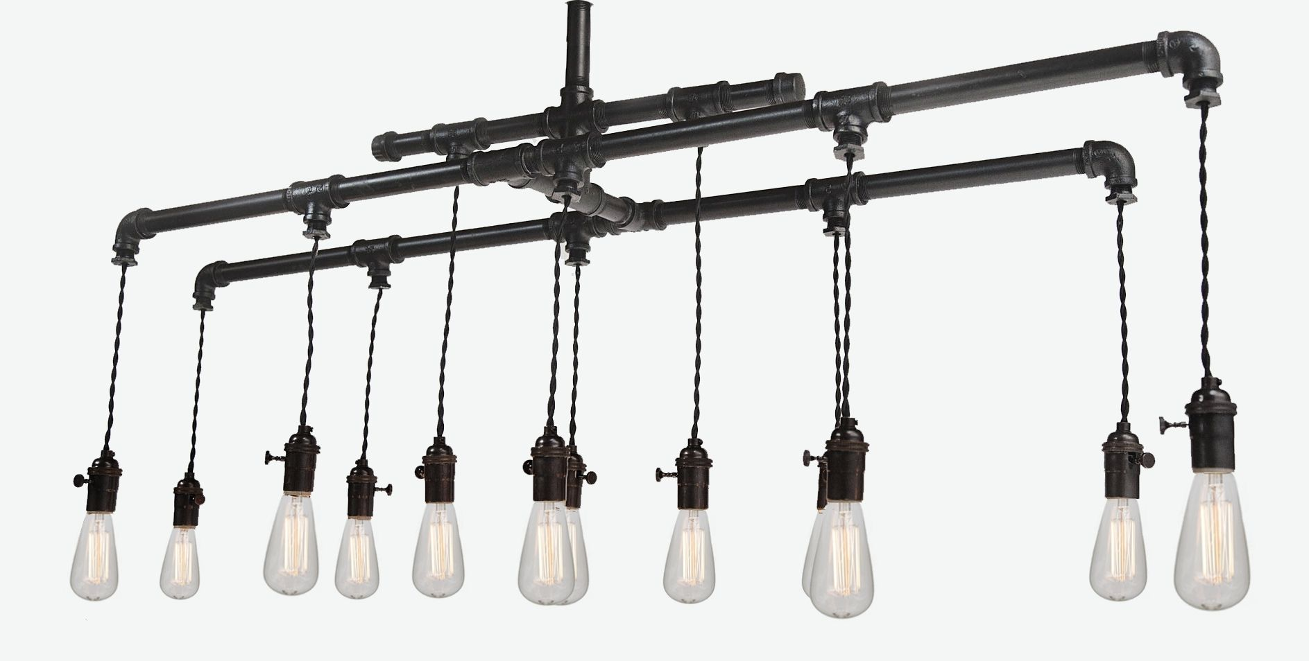Custom Industrial Pipe Edison Chandelier With 12 Bulbs By