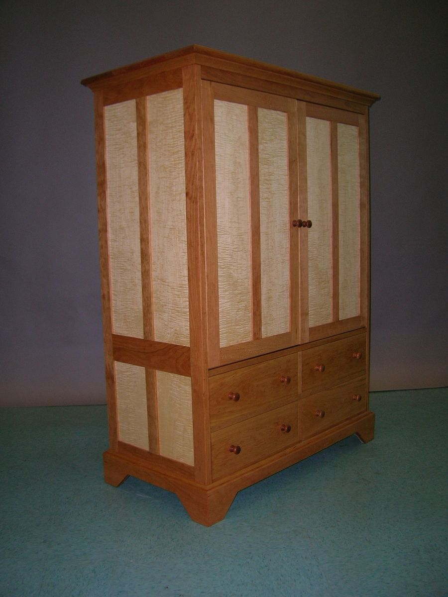 Handmade Cherry And Tiger Maple TV Cabinet By Matthew Sharratt Woodworking