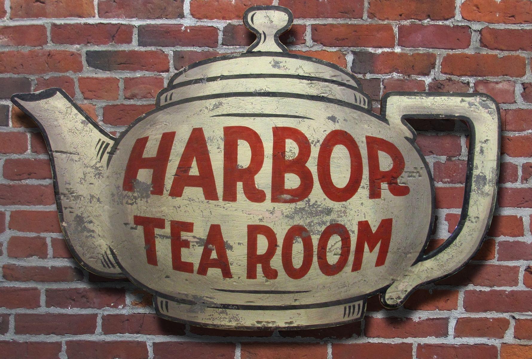Hand Made Vintage Sign Art Harbor Tea Room By Nutmegger